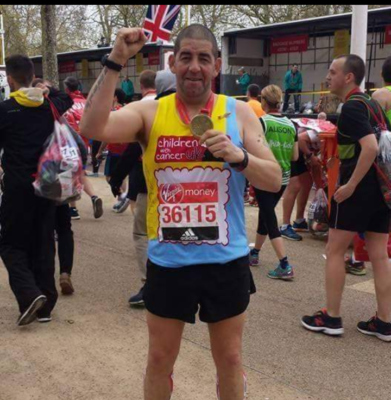 Driver running marathon for Children with Cancer